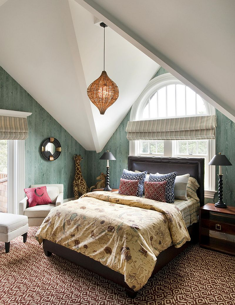Wallpapered walls give the bedroom a polished, modern appeal
