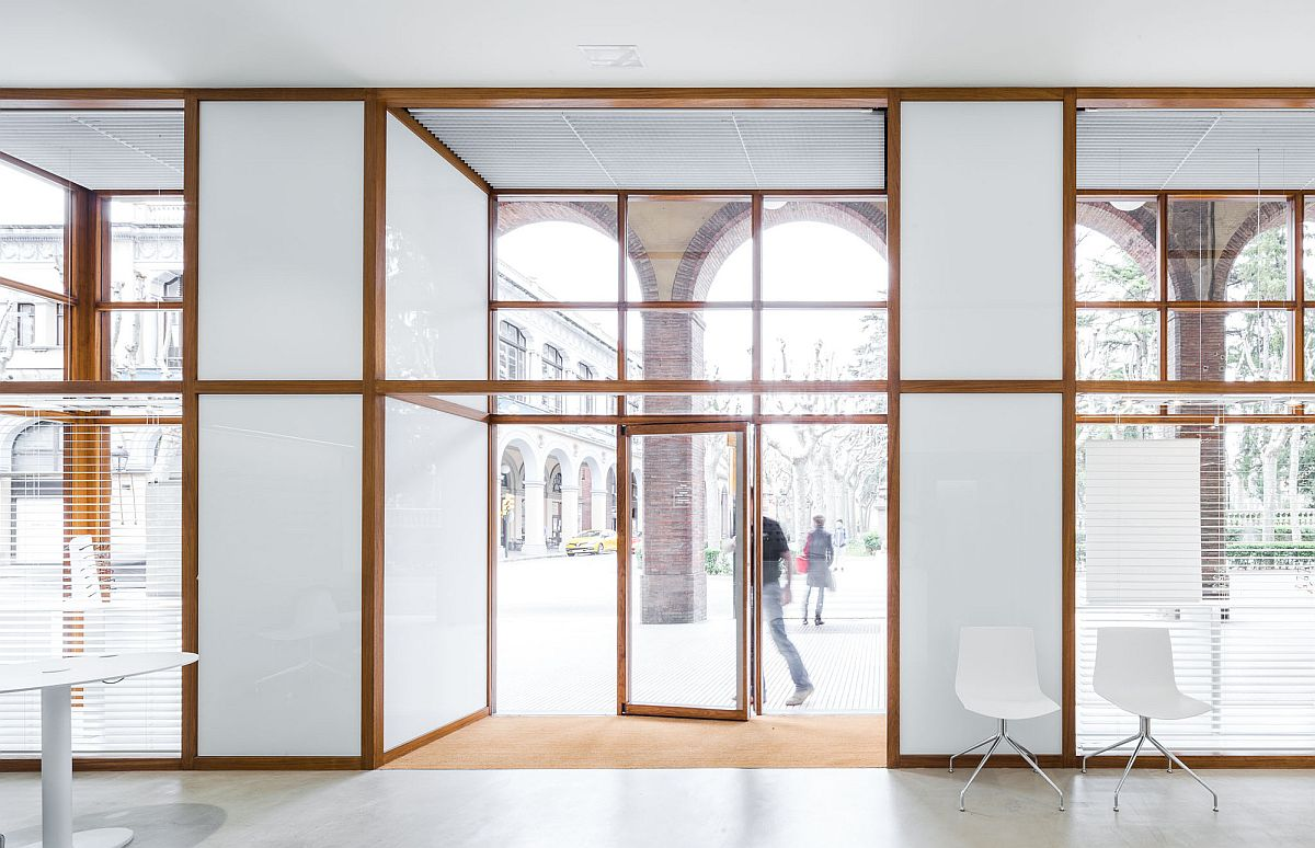 Wooden framed glass windows from the original store are preserved and enhanced