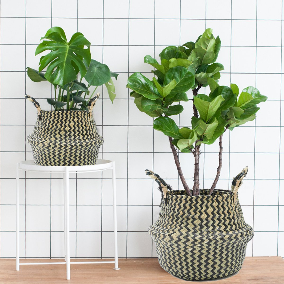 Black-and-white-plant-baskets