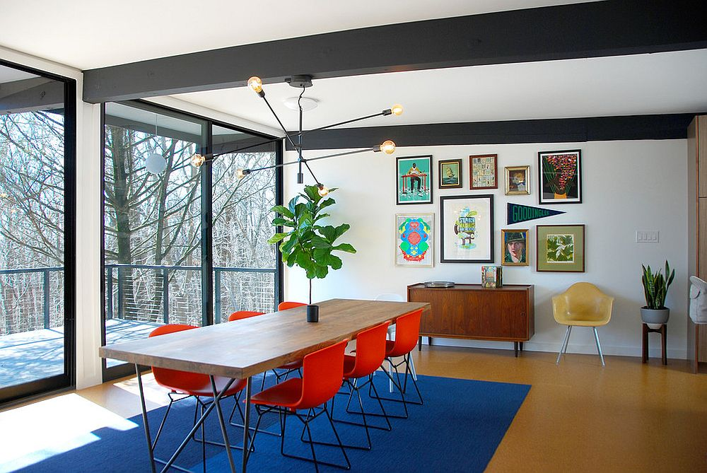 Bright-orange-chairs-for-the-midcentury-dining-room