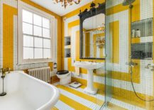 Brilliant-use-of-tile-creates-a-stunning-eclectic-bathroom-in-white-and-yellow-217x155