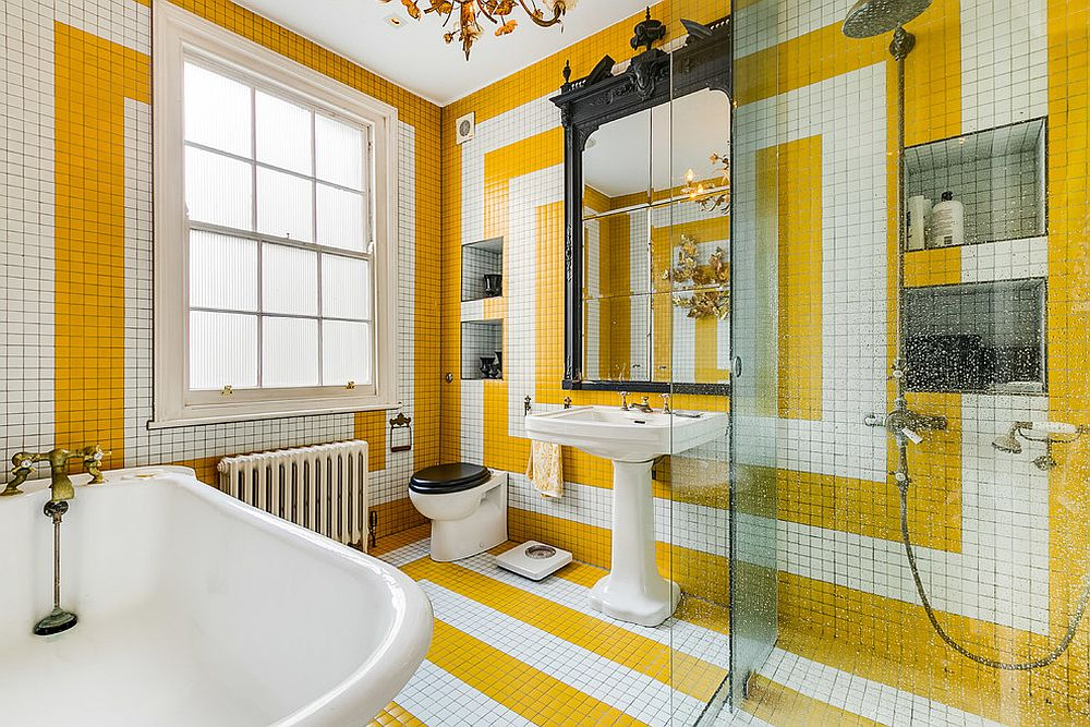 Brilliant use of tile creates a stunning eclectic bathroom in white and yellow