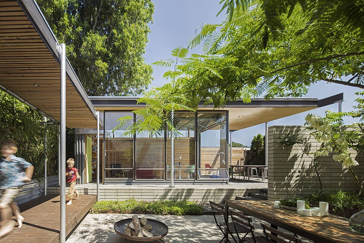 Central courtyard and covered walkways inside the Seattle home