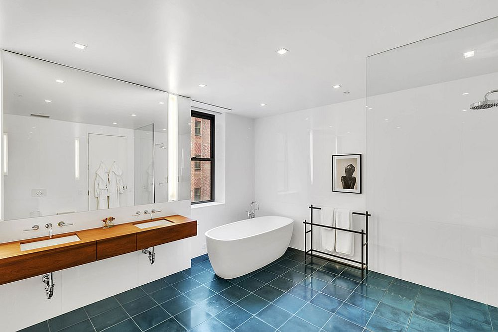Charming blue floor steals the show in this bathroom