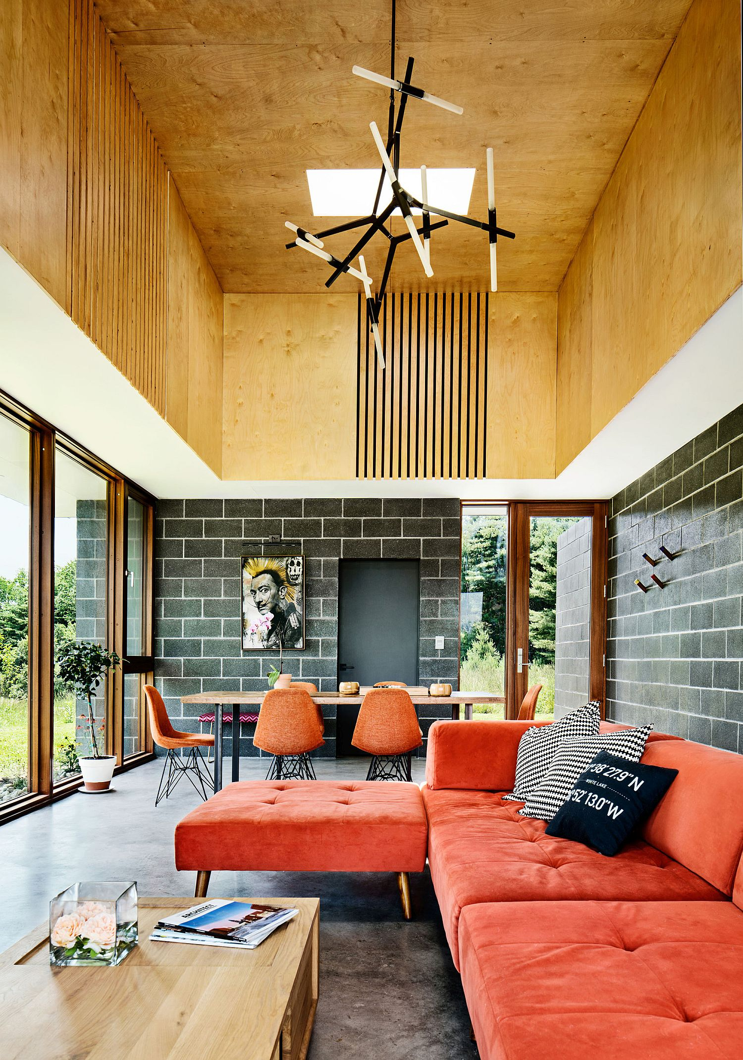 Double height living area of the Catskills House