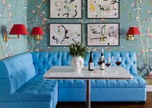 Eclectic-dining-room-with-a-wallpapered-backdrop-simple-collection-of-prints-and-banquette-seating-217x155