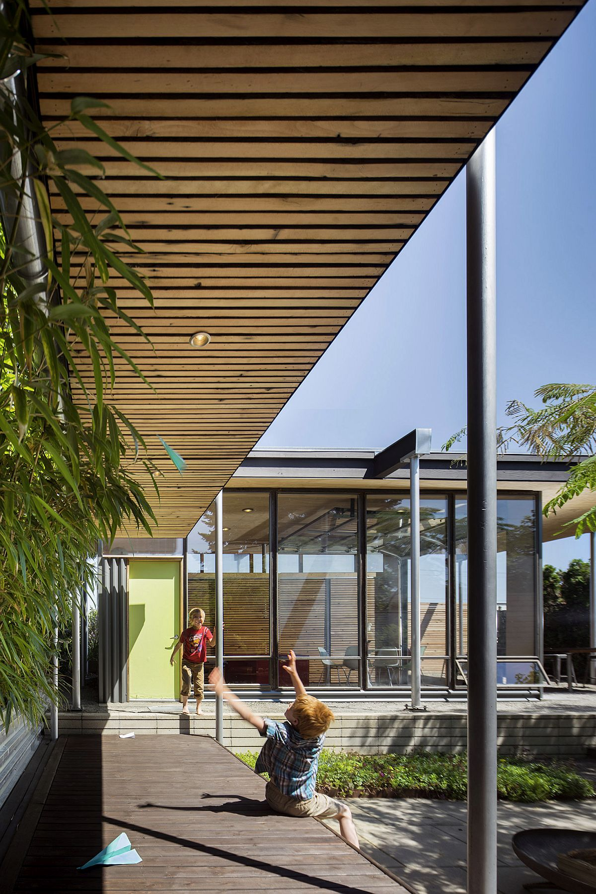 Extended pavilion roof offers shade for the walkways