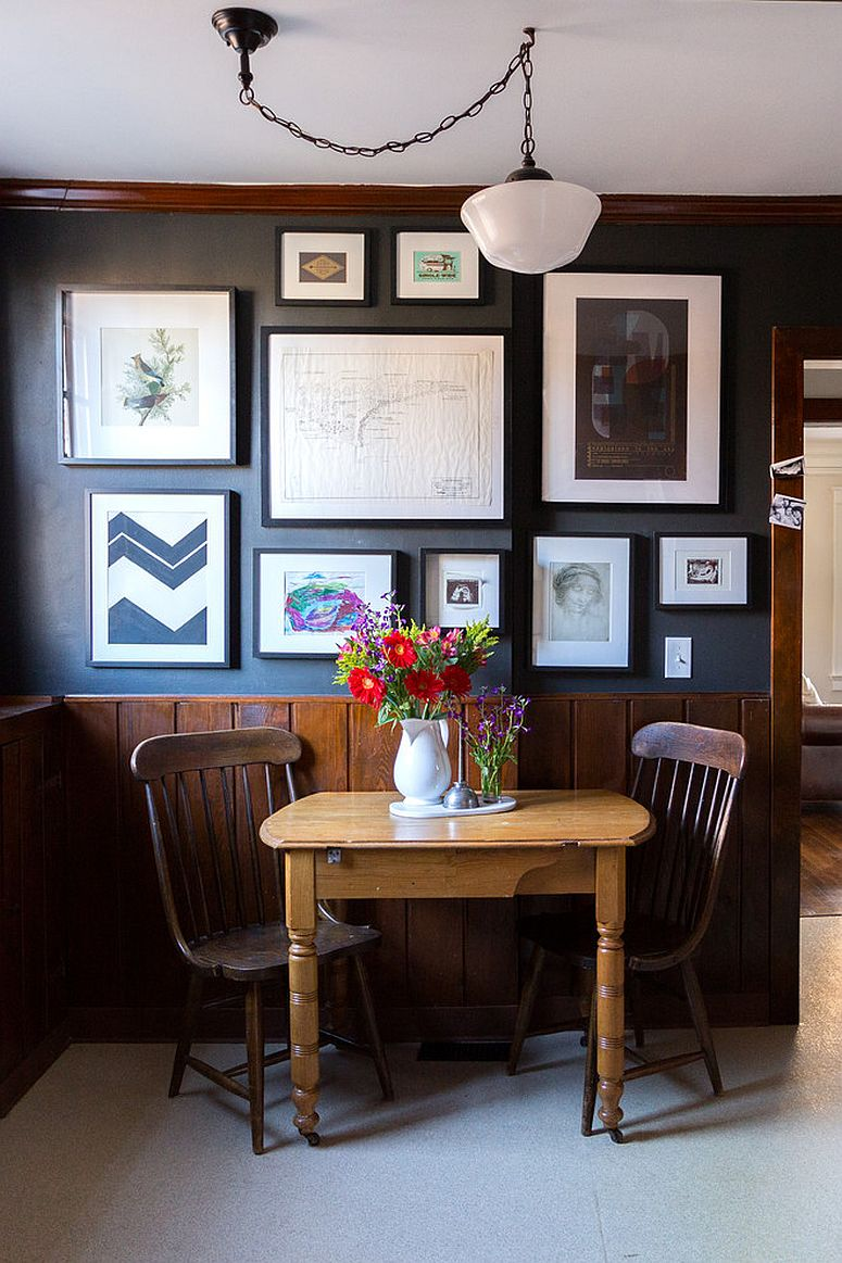 Farmhouse dining room with a fabulous and elegant gallery wall