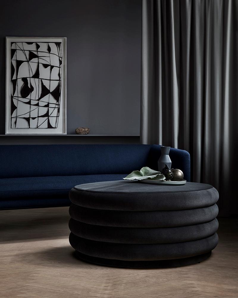 Grey round ottoman