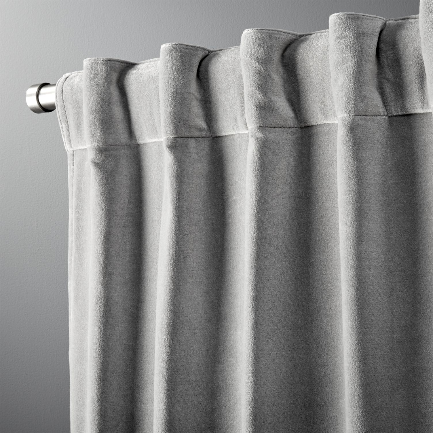 Grey velvet curtain from CB2