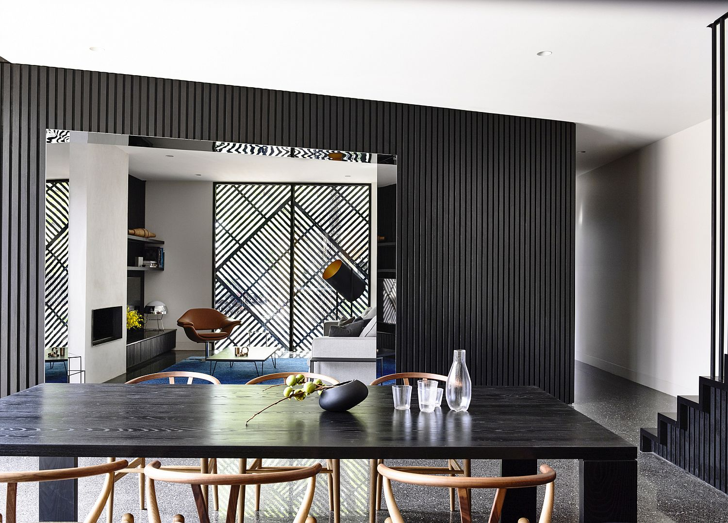 Lovely use of black to create contrast inside the suburban Melbourne home