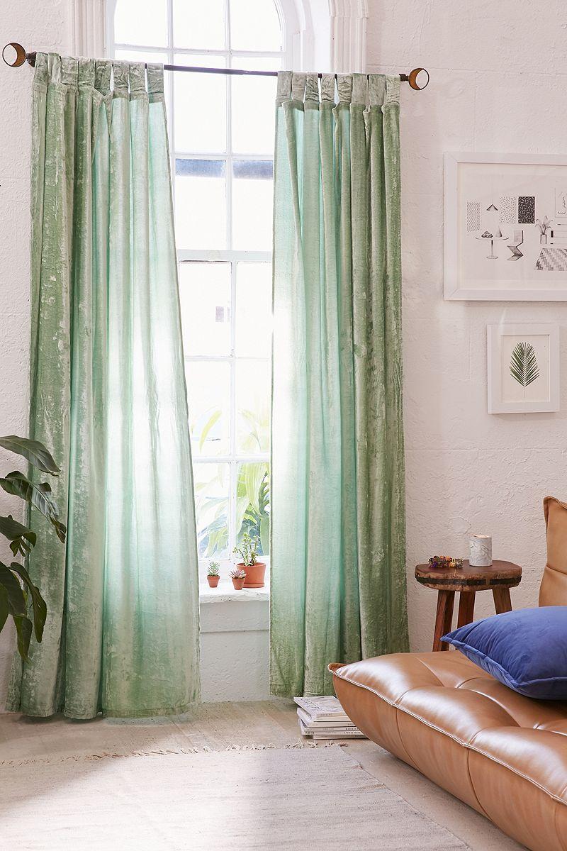 Mint crushed velvet curtains