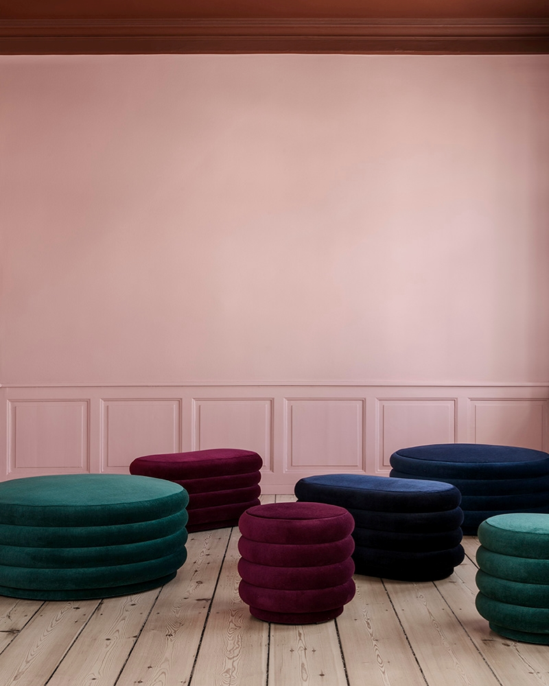 Modern curved ottomans from ferm living