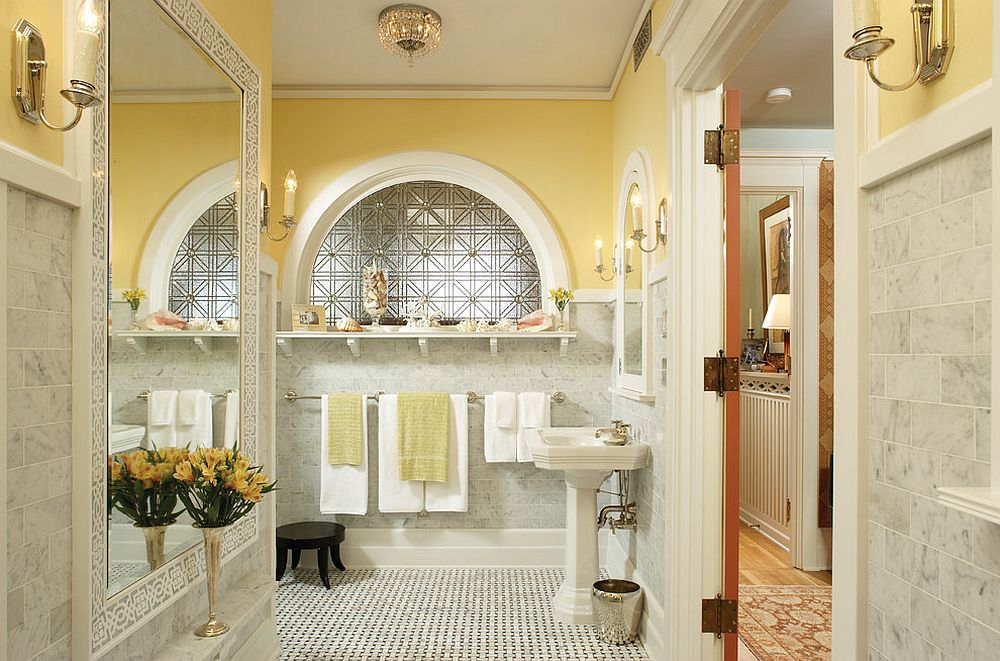Modern traditional bathroom in yellow and light gray