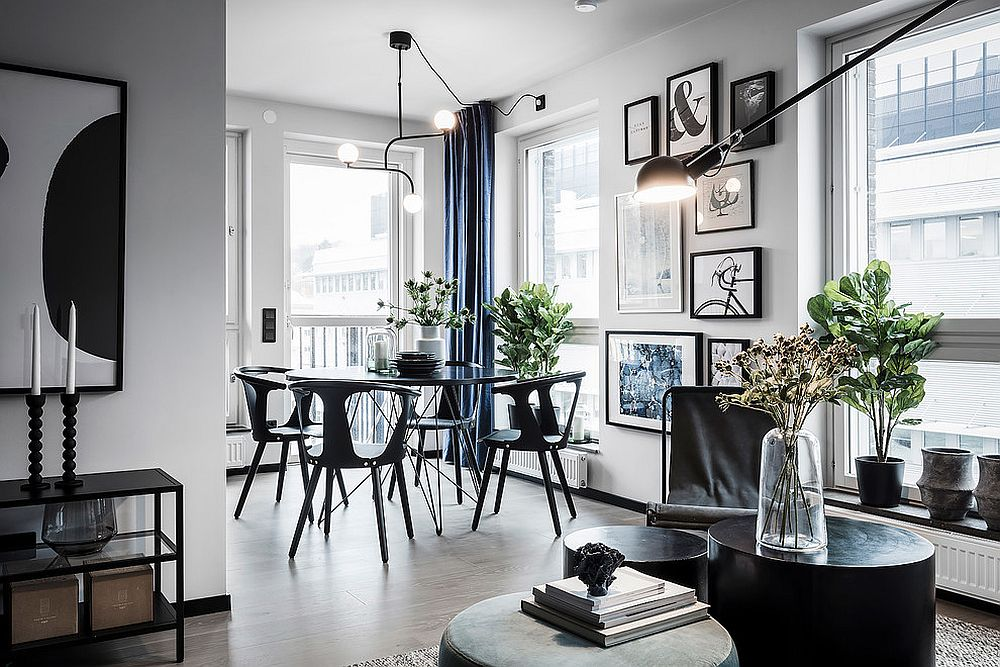 Scandinavian-style-dining-room-in-black-and-white