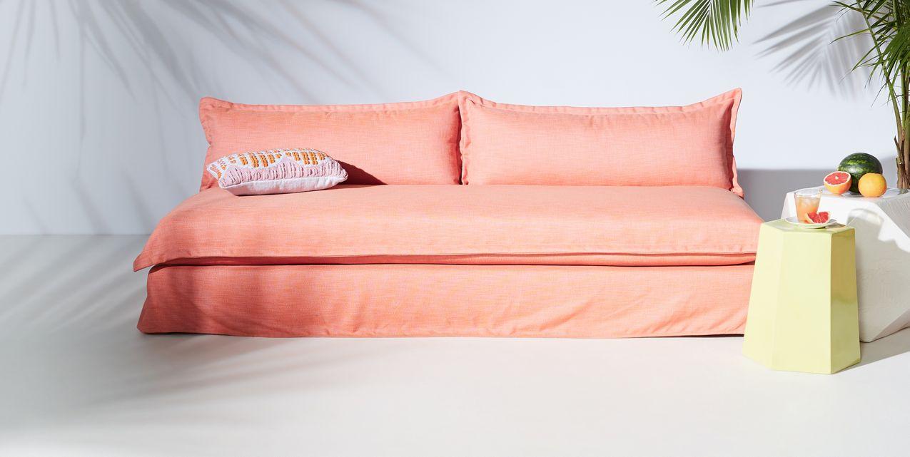 sofa in blush decoist. Black Bedroom Furniture Sets. Home Design Ideas