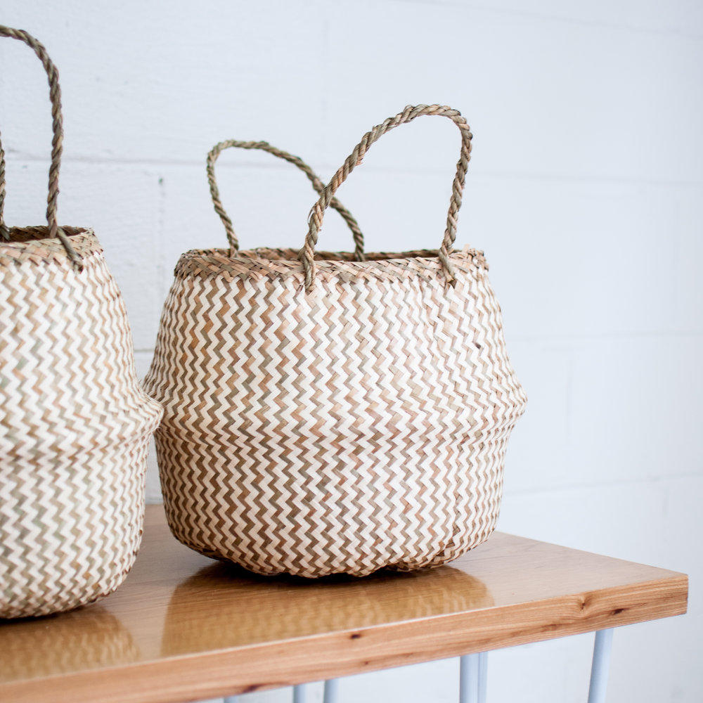 Striped seagrass belly baskets