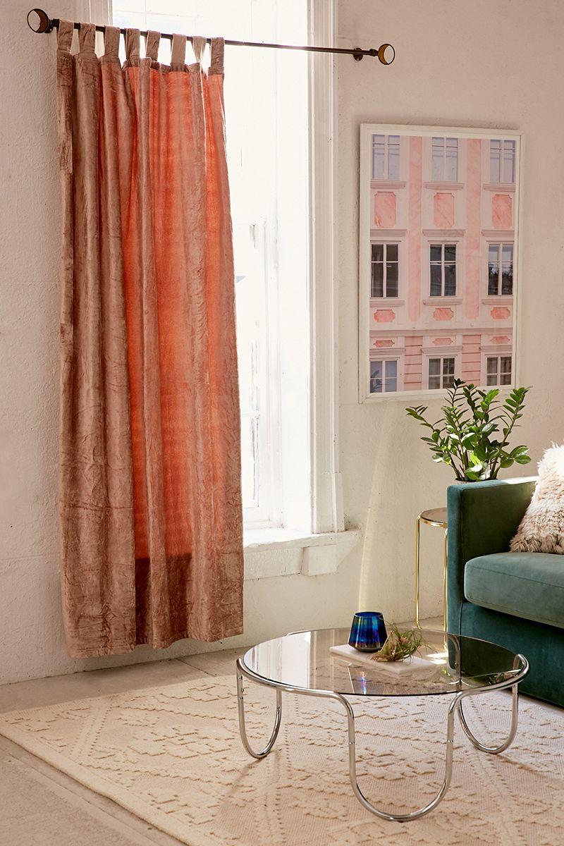 Velvet curtains in blush