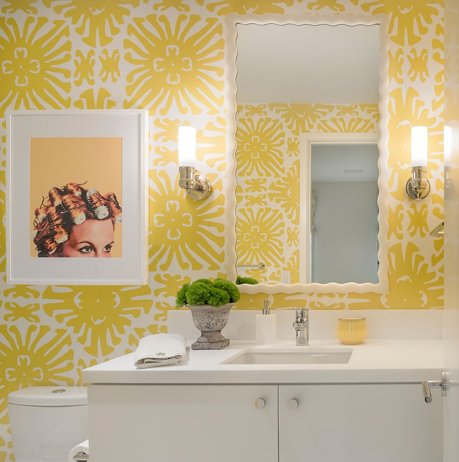 Wallpaper brings color and pattern to the modern powder room