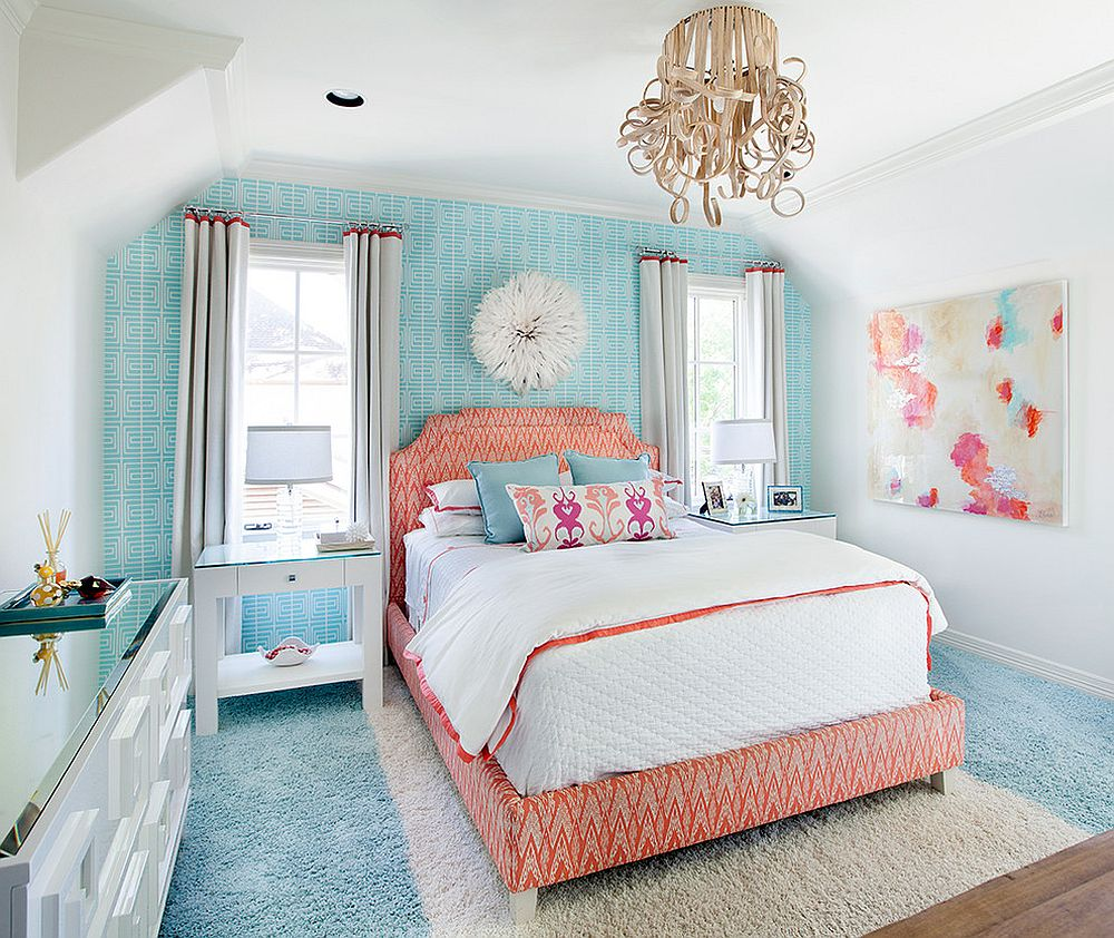 A touch of coral and pink for the white and blue bedroom
