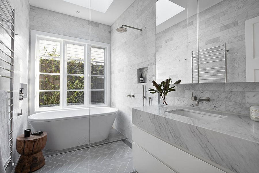 All-gray bathroom with stunning use of stone