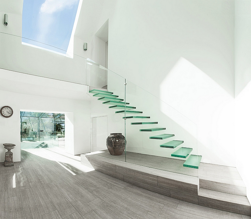 Amazing floating staircase with glass treads
