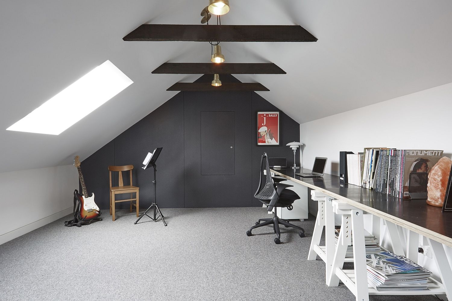 Attic level studio and workspace rolled into one