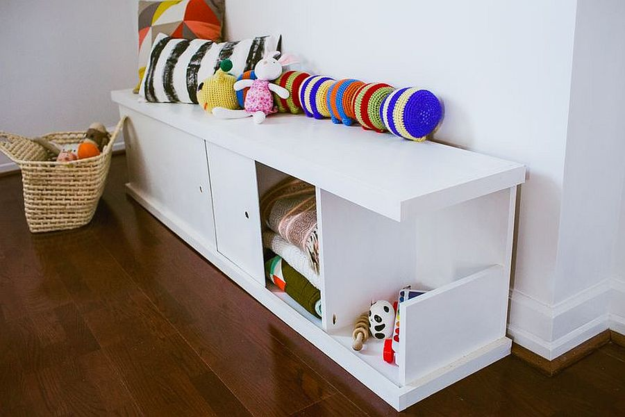 Beautiful bench with storage options works well in adult spaces as well