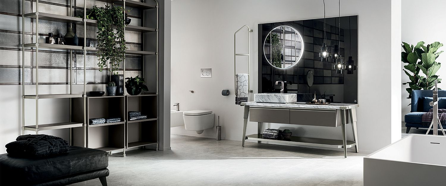 Beautiful black and white bathroom composition from Diesel and Scavolini