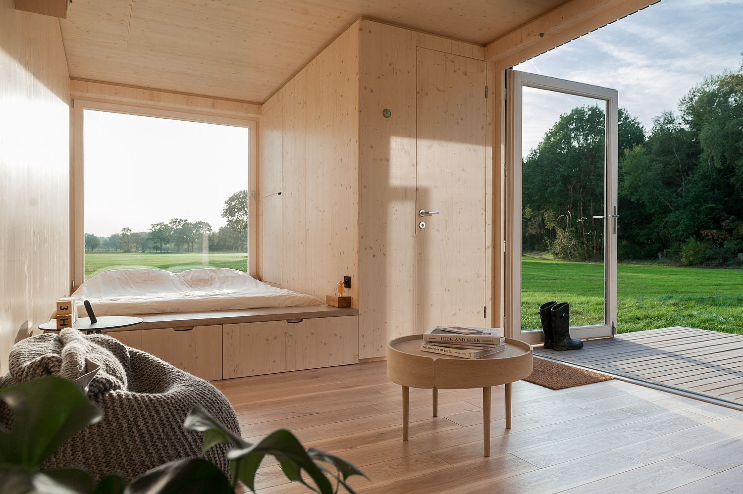 Bedroom of the cabin completely opens up towards the world outside