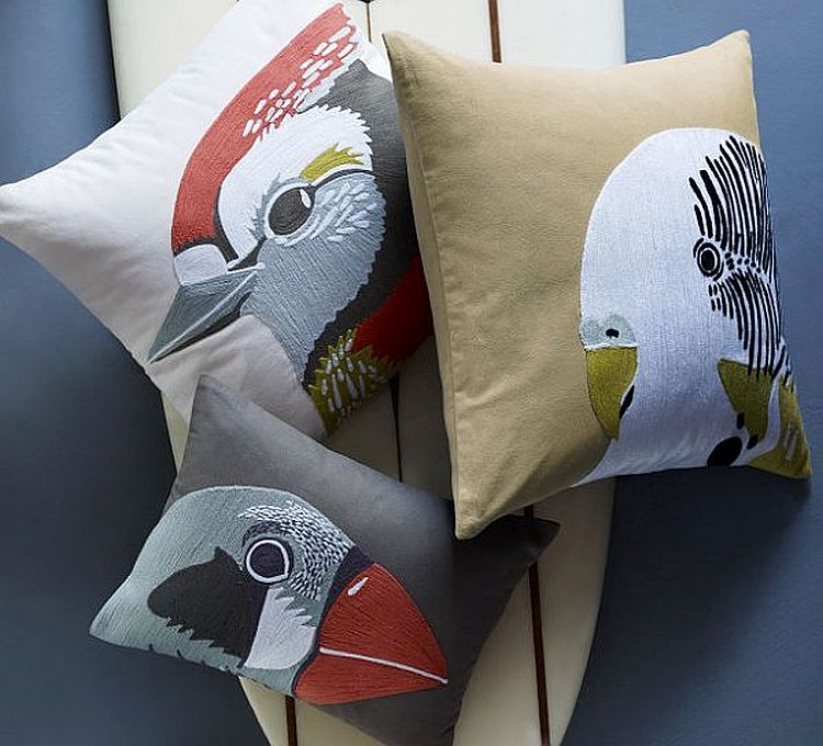 Bird-themed pillows for the bright tropical bedroom!