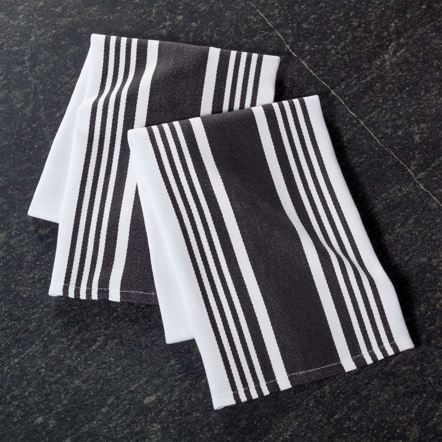Black and white striped dish towels