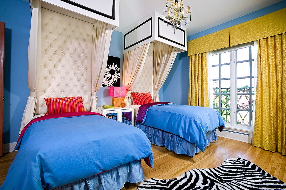 Blue and yellow is a combination that fills room with wonder and elegance