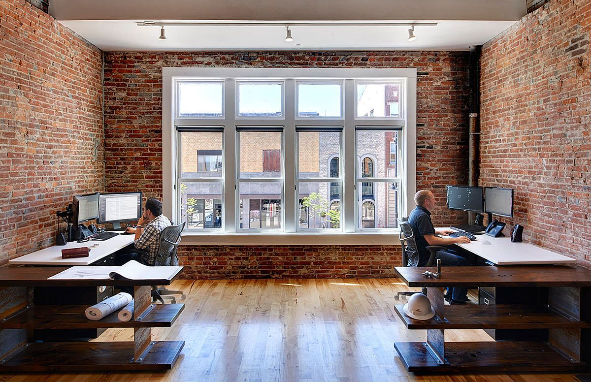 Brick walls for the restored industrial office space in Iowa
