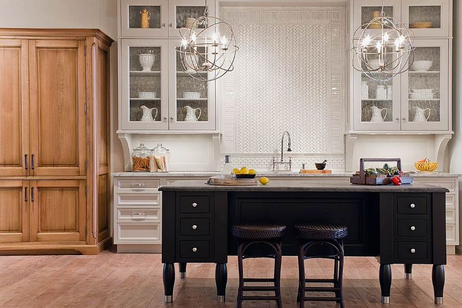 Classic English Country style kitchen siland in black is a showstopper