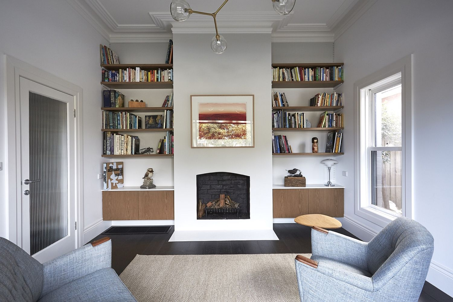 Classic interiors of the home with bookshelf and ample sitting space