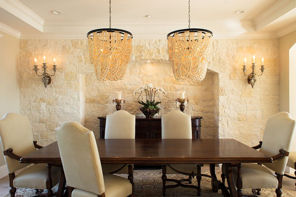 Classic lighting fixtures for the lovely Mediterranean dining room