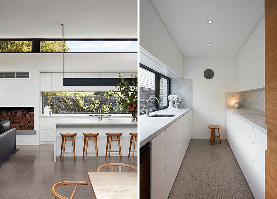 Closer look at the modern kitchen in white and wood