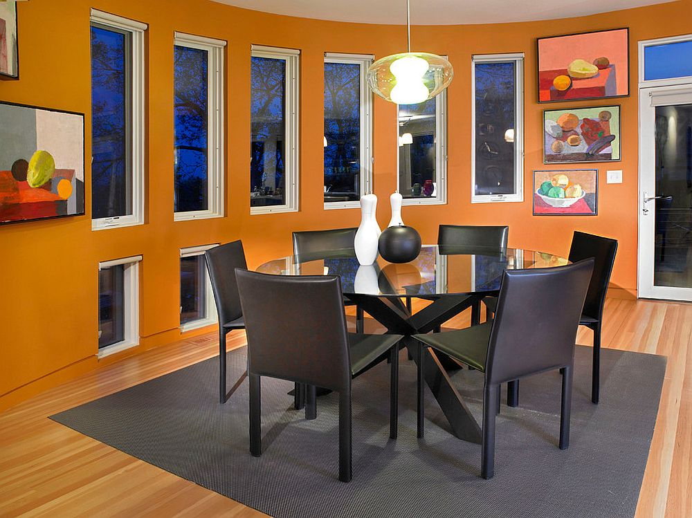 Contemporary dining room with wall art inspired by food