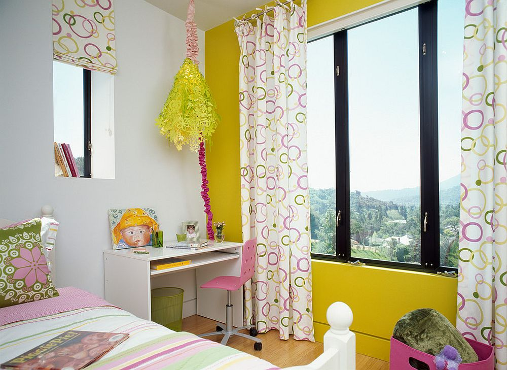 Contemporary kids' bedroom in yellow, pink and white
