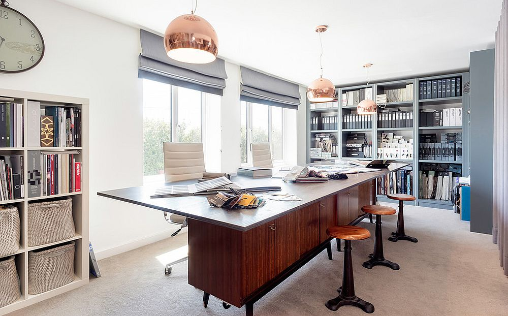 Copper-pendant-lights-for-the-spacious-home-office
