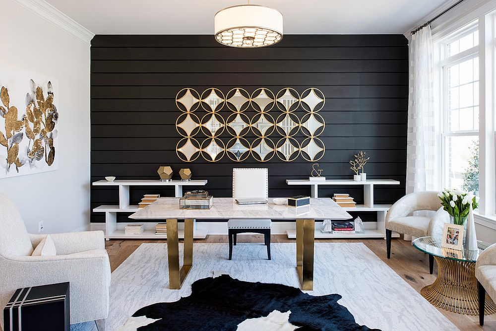 Curated gold accents throughout the home office give it a polished look