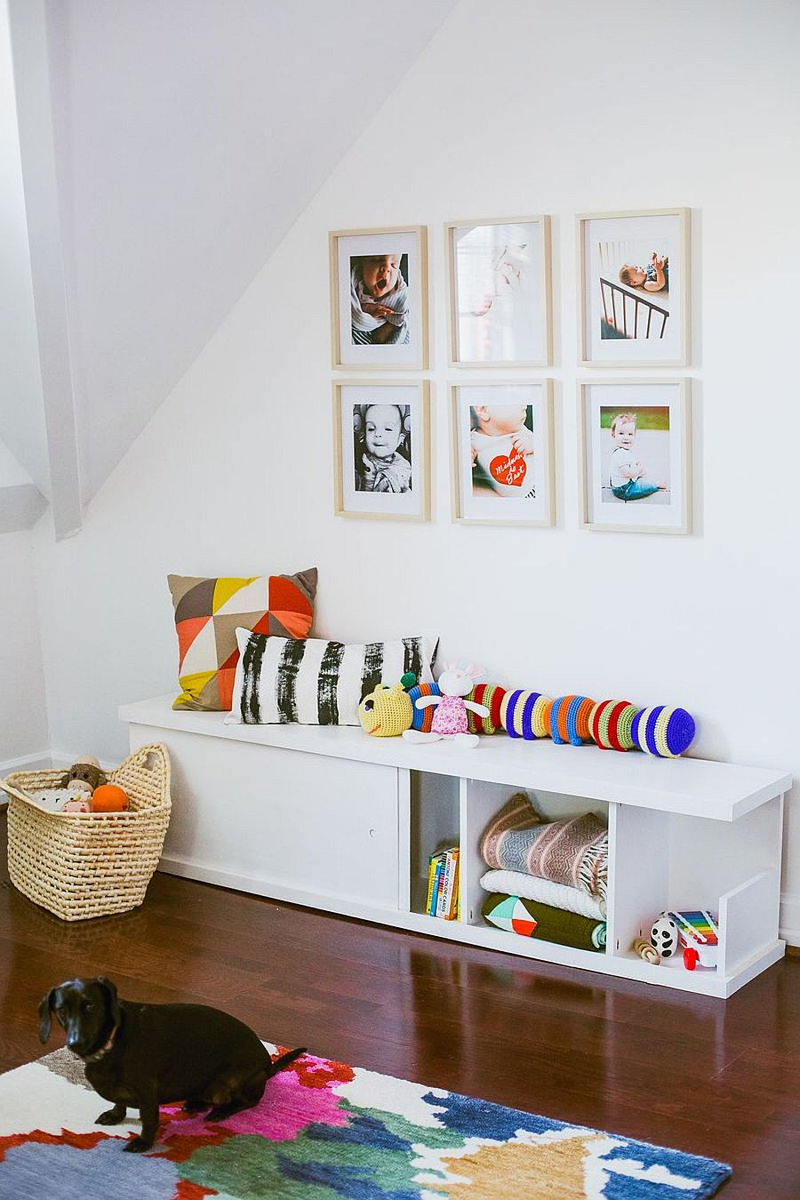 DIY bench with built-in storage for kids room