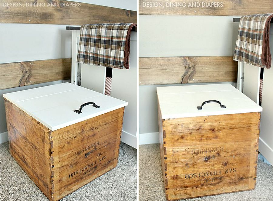 DIY shipping crate storage boxes with vintage charm