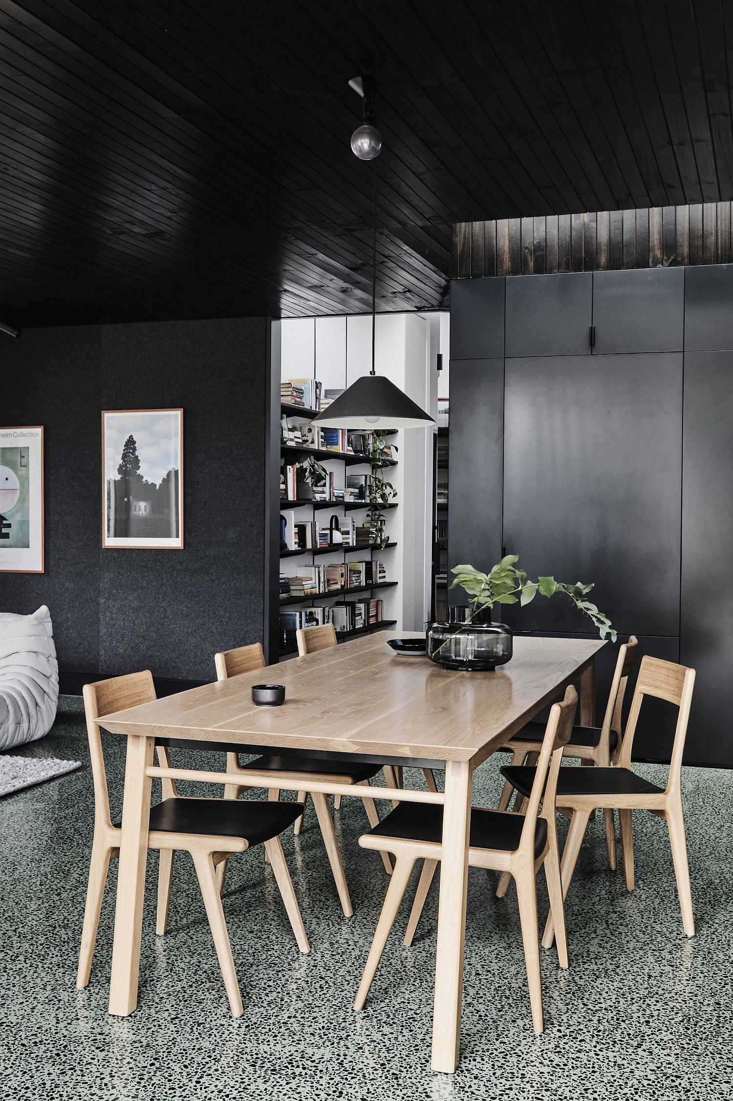 Dark wooden ceiling and gray cabinets for the dining room