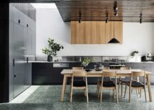 Dashing-kitchen-in-gray-and-white-with-wooden-ceiling-217x155