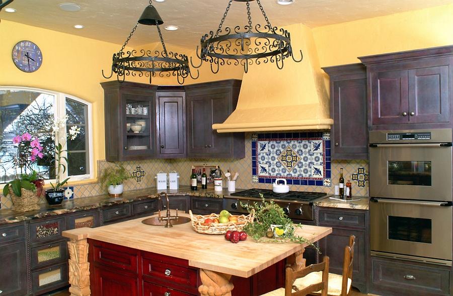 Dashing red island for the Mediterranean kitchen in yellow