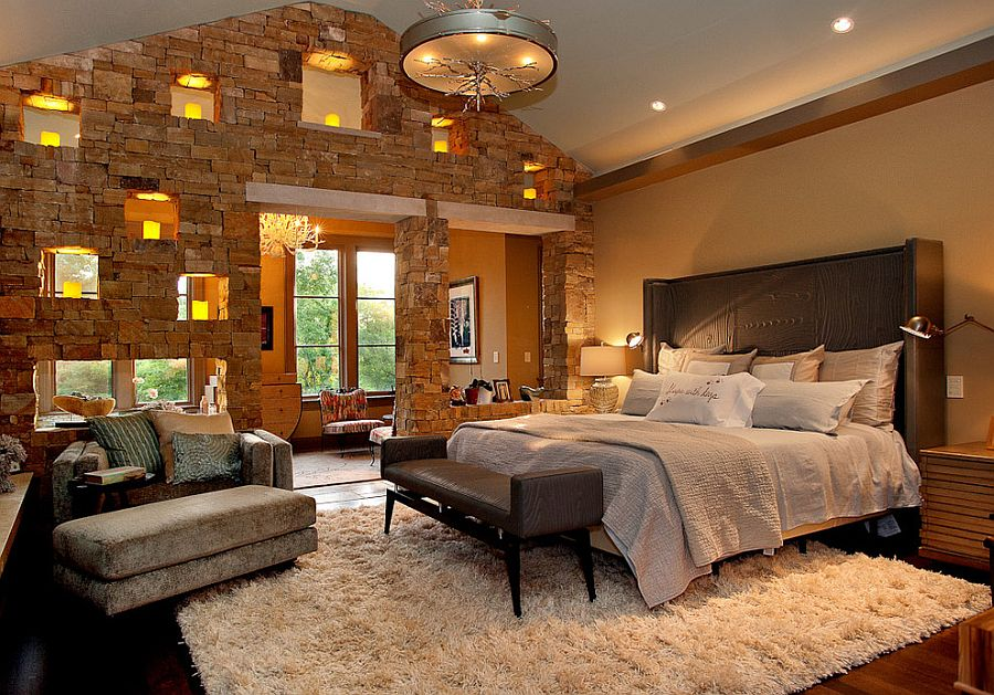 Delightful stone walls with small niches for lighting