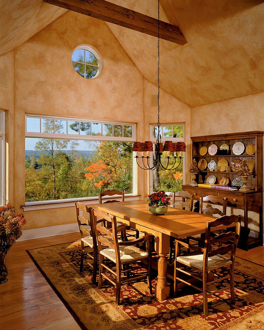 Dining room hutch and textured walls give the room a classic Mediterranean aura