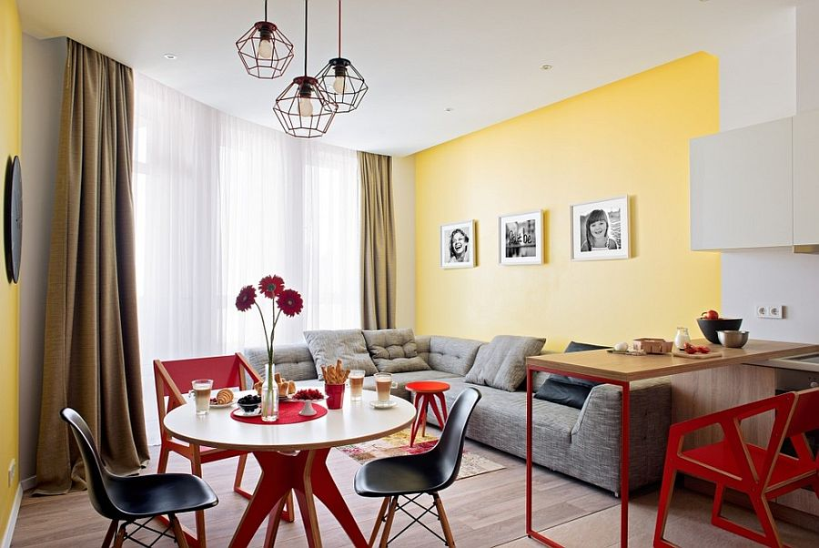 Dining space in yellow, red and gray